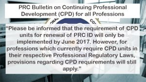 UPDATE: PRC will fully Implement CPD requirements to Renew Your License in Early 2017